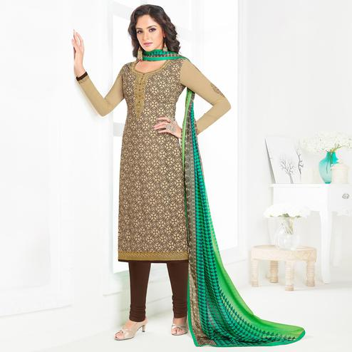 Adorning Beige Colored Partywear Printed-Embroidered Crepe Suit