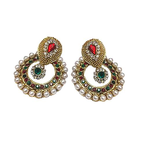 Maroon - Green Polki Earrings