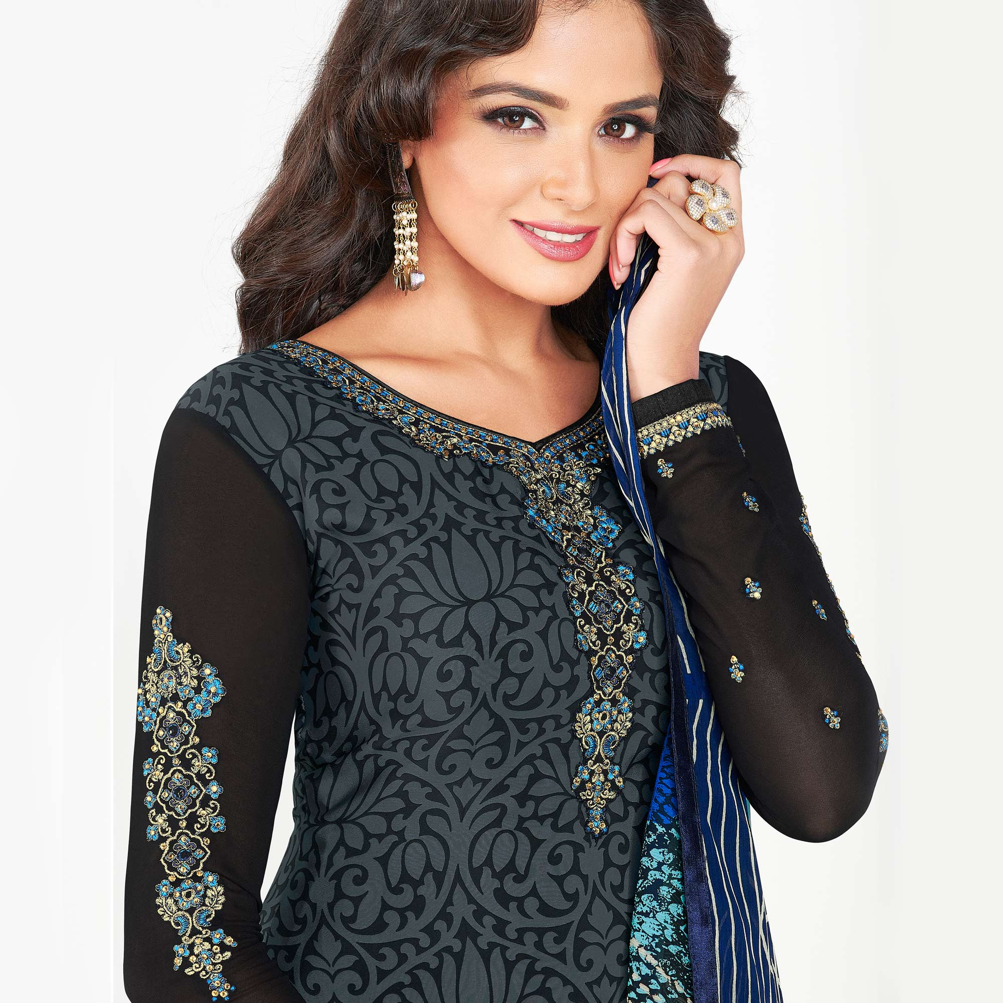 Stylish Black Colored Partywear Printed-Embroidered Crepe Suit