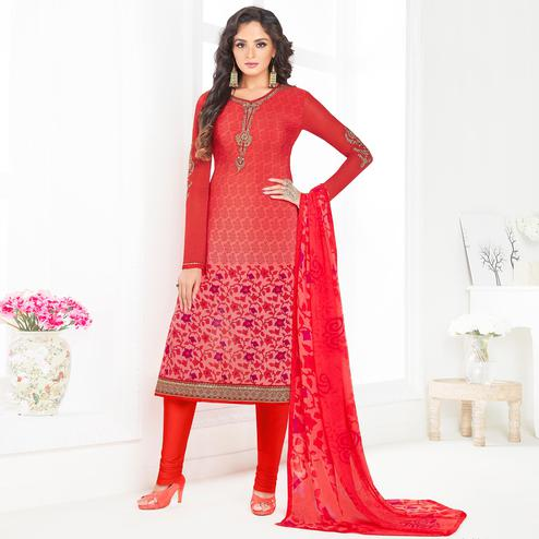 Stunning Dark Pink Colored Partywear Printed-Embroidered Crepe Suit