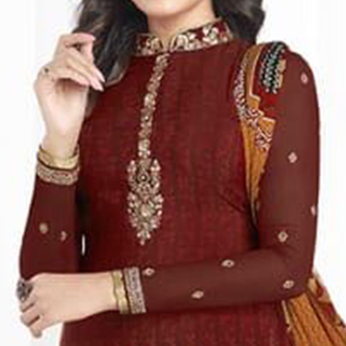 Trendy Maroon Colored Partywear Printed-Embroidered Crepe Suit