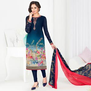 Desiring Navy Blue Colored Partywear Printed-Embroidered Crepe Suit