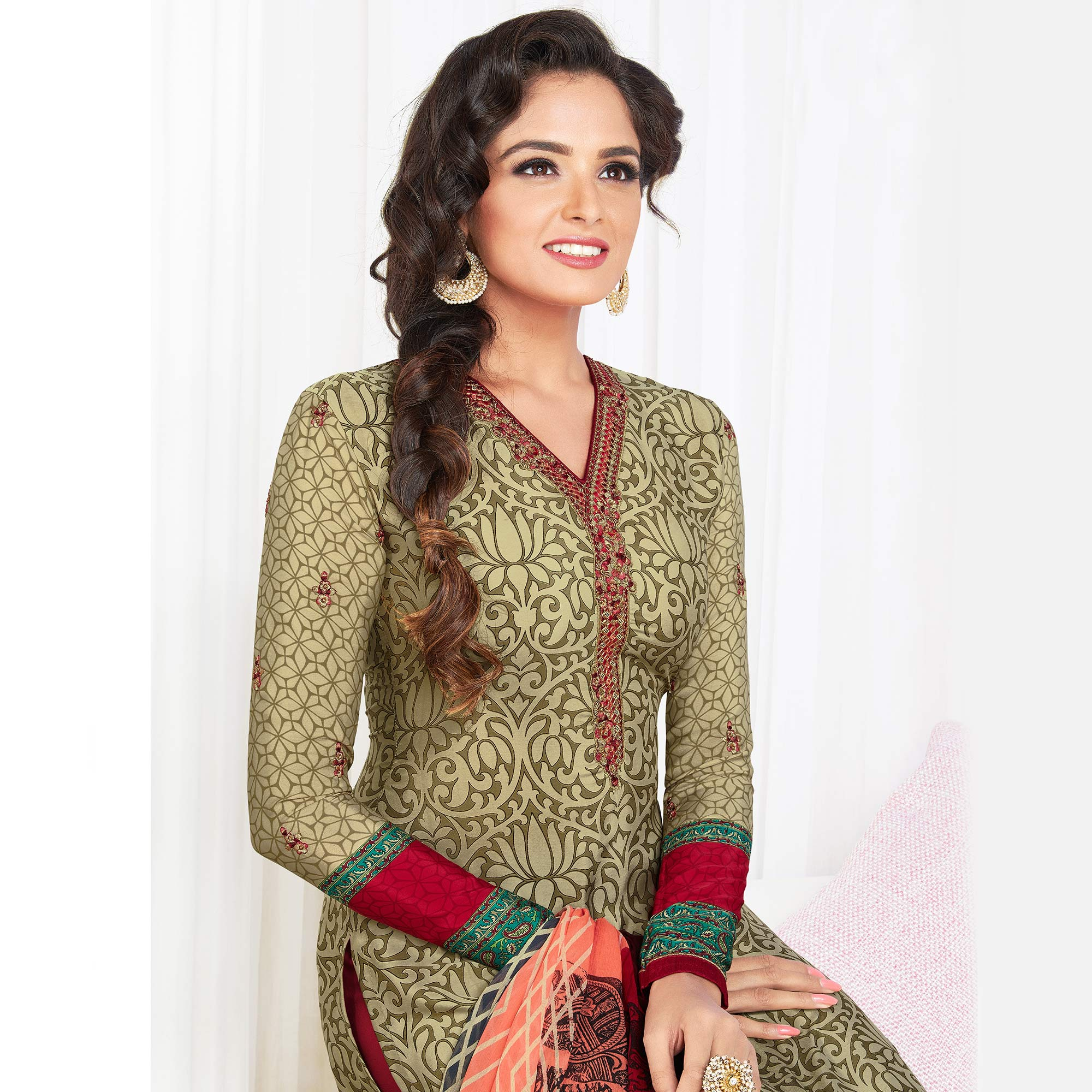 Different Olive Green Colored Partywear Printed-Embroidered Crepe Suit