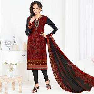 Attractive Black-Red Colored Partywear Printed-Embroidered Crepe Suit
