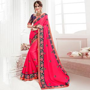 Stunning Pink Colored Partywear Embroidered Georgette Saree