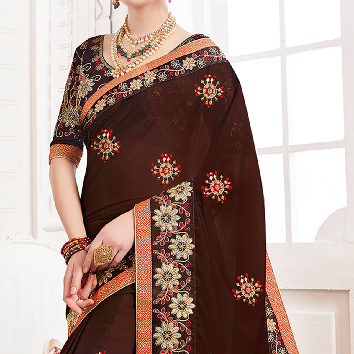Groovy Brown Colored Partywear Embroidered Georgette Saree