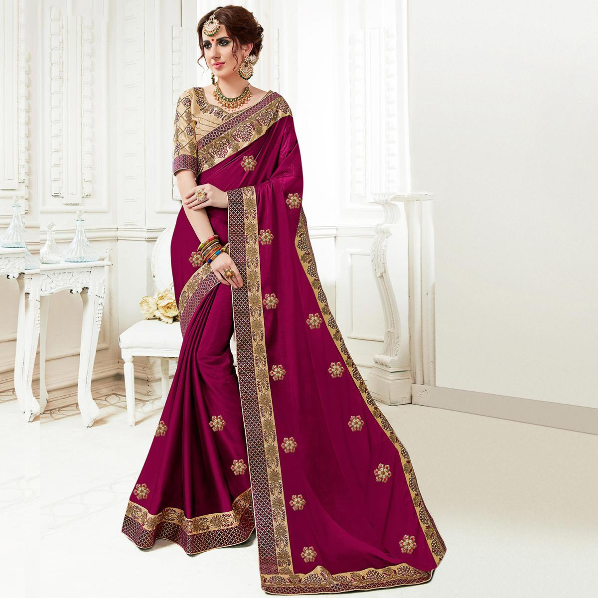 Excellent Wine Colored Partywear Embroidered Georgette Saree