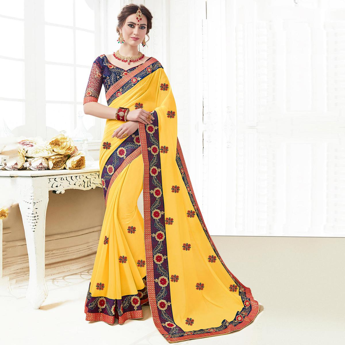 Demanding Yellow Colored Partywear Embroidered Georgette Saree