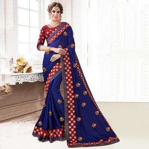 Innovative Navy Blue Colored Partywear Embroidered Georgette Saree