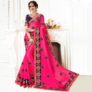 Surpassing Pink Colored Partywear Embroidered Georgette Saree