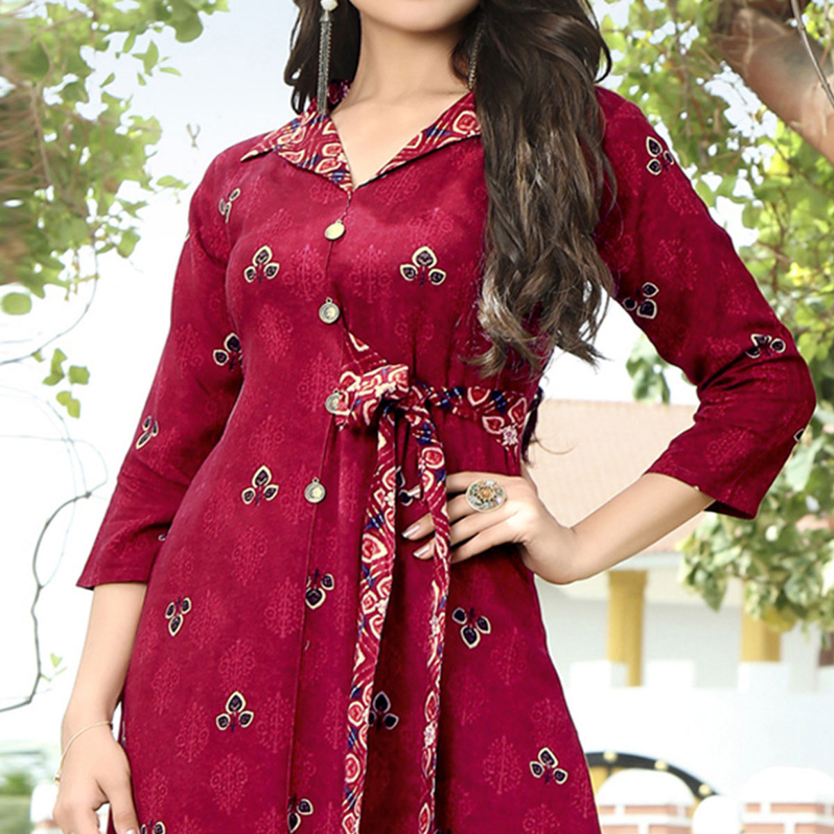 Unique Magenta Pink Colored Partywear Printed Rayon Kurti