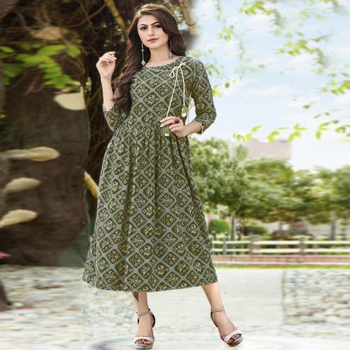 Gleaming Green Colored Partywear Printed Rayon Kurti