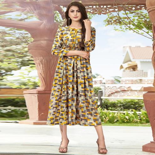 Different Multi Colored Partywear Printed Rayon Kurti