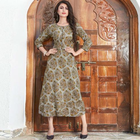 Stunning Gray Colored Partywear Printed Rayon Kurti