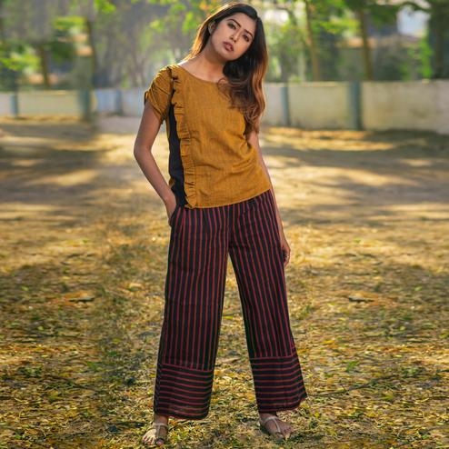 Opulent Mustard Yellow-Black Colored Khadi Cotton Top-Bottom Set