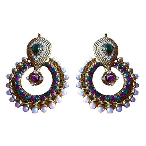 Purple - Green Pearl Polki Earring