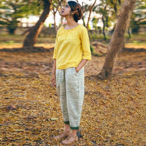 Classy Yellow-Off-White Colored Khadi Cotton Top-Bottom Set