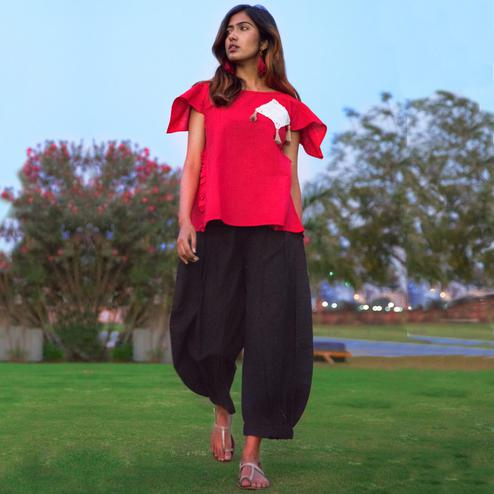 Flamboyant Dark Pink-Black Colored Khadi Cotton Top-Bottom Set