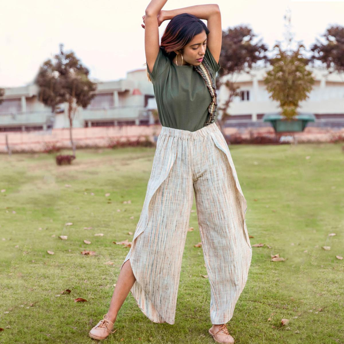 Blooming Olive Green-Off-White Colored Khadi Cotton Top-Bottom Set