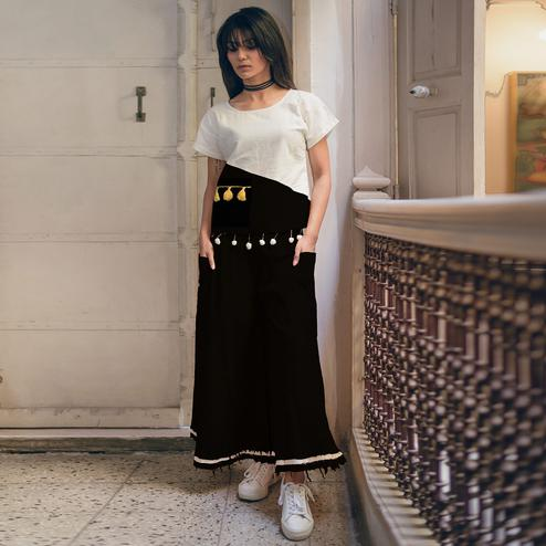 Trendy White-Black Colored Khadi Cotton Top-Bottom Set