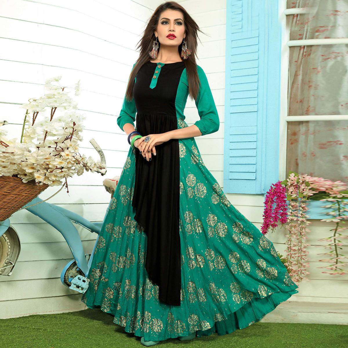 Amazing Turquoise Green-Black Colored Partywear Printed Rayon Long Kurti