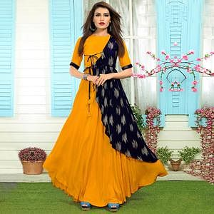 Stunning Mustard Yellow-Navy Blue Colored Partywear Printed Rayon Long Kurti