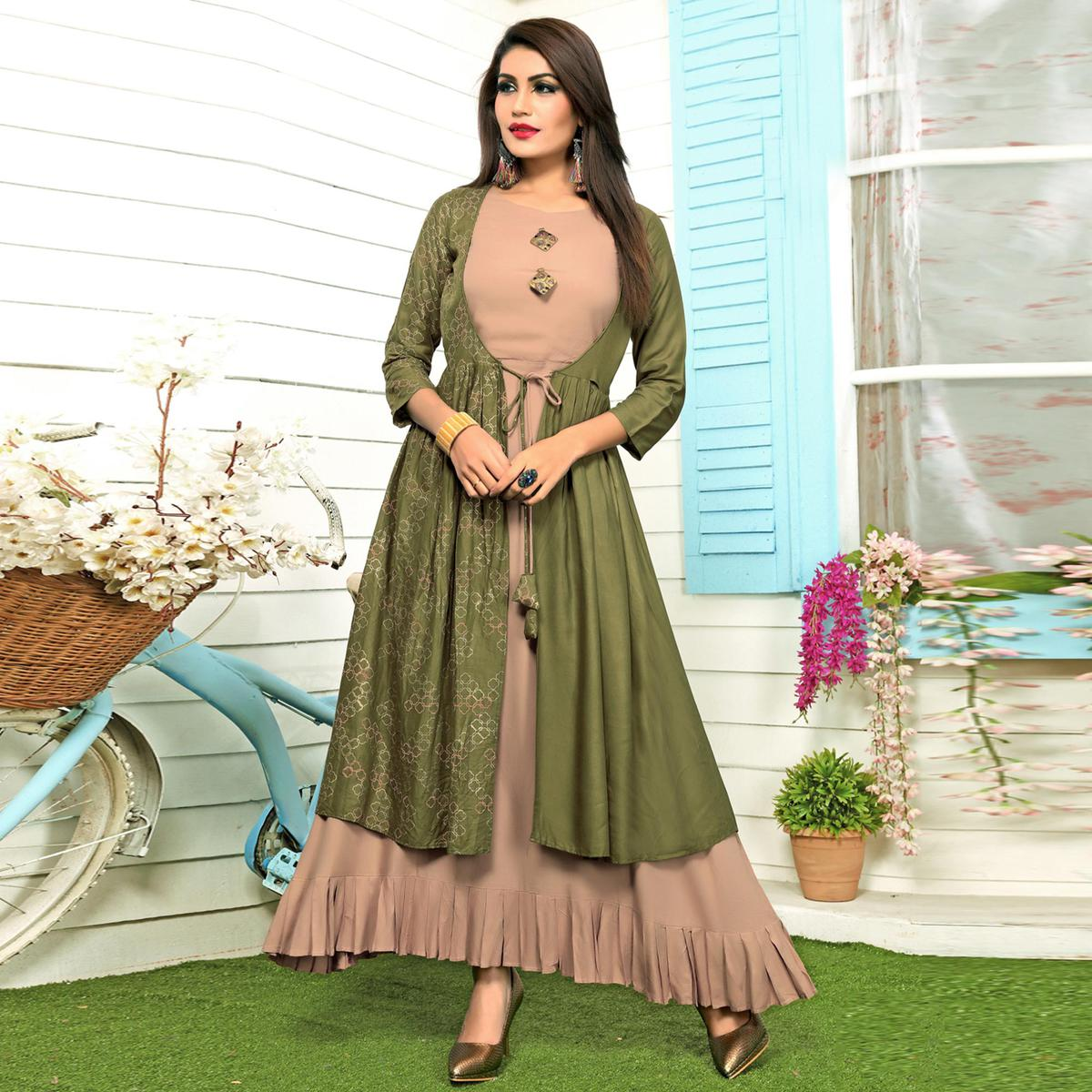 Attractive Beige-Olive Green Colored Partywear Printed Rayon Long Kurti
