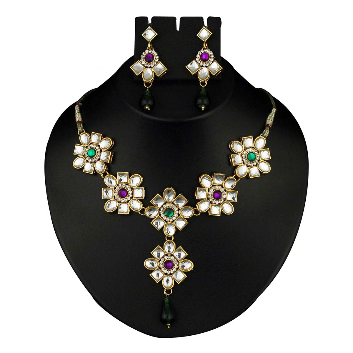 Kundan Pink & Green Austrian Stone Drop Gold Finish Necklace Set