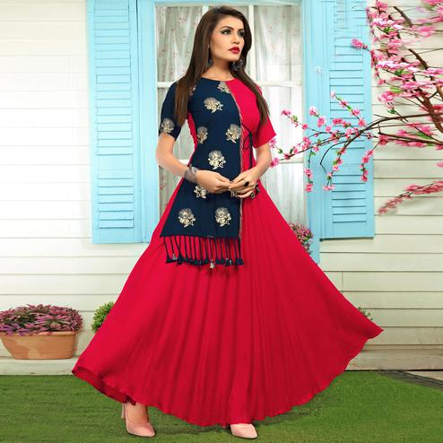 Classy Dark Pink-Navy Blue Colored Partywear Printed Rayon Long Kurti