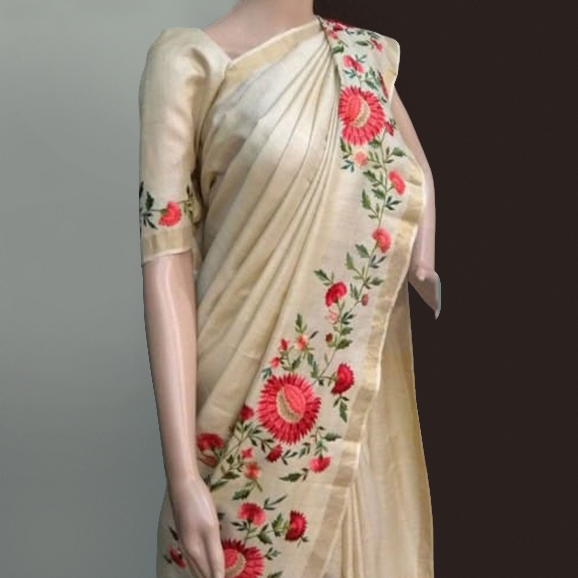 Appealing Cream Colored Festive Wear Embroidered Chanderi Silk Saree