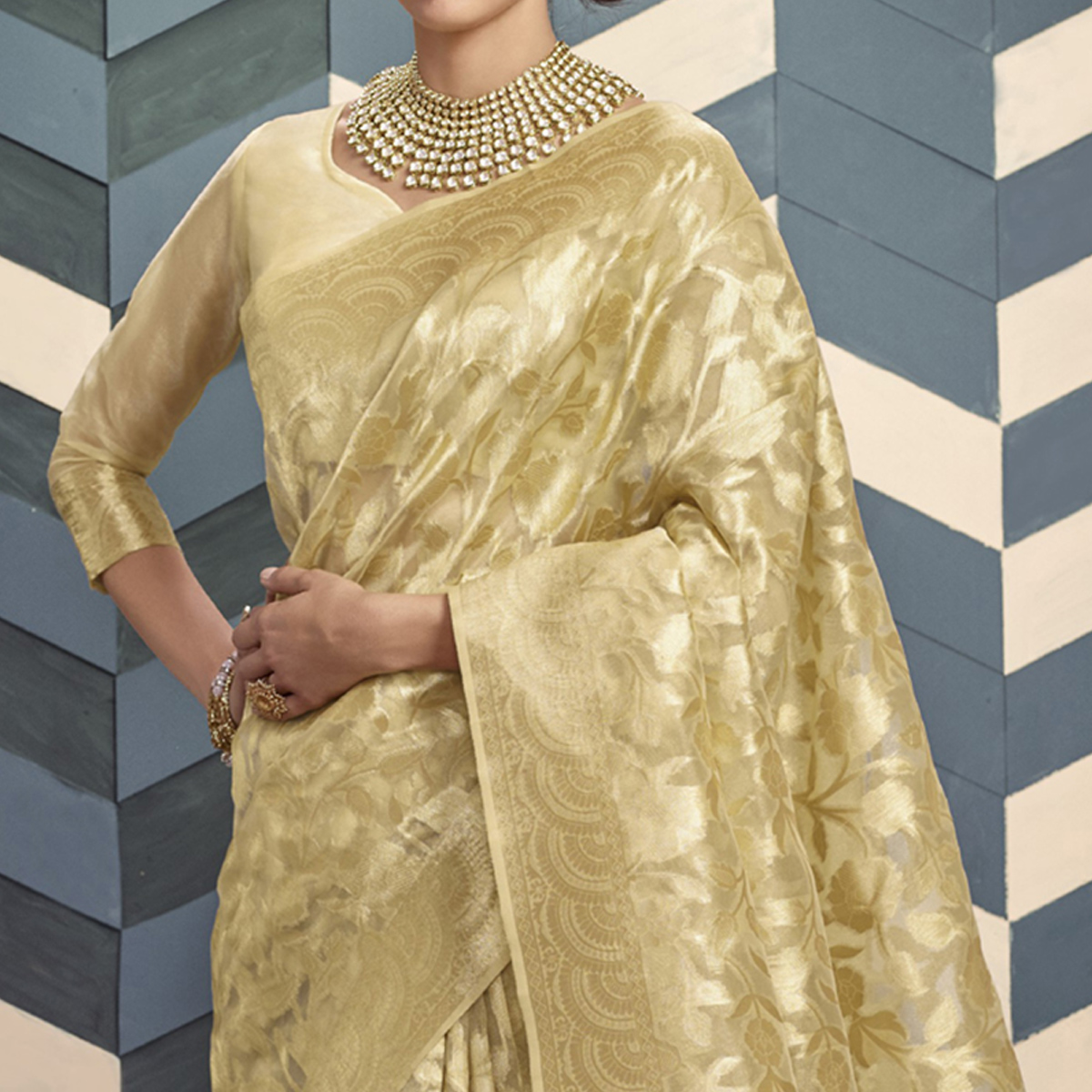 Opulent Beige Colored Festive Wear Woven Organza Silk Saree
