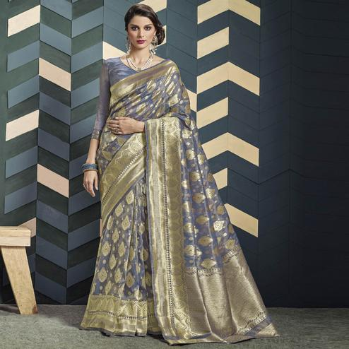 Pleasant Bluish Grey Colored Festive Wear Woven Organza Silk Saree