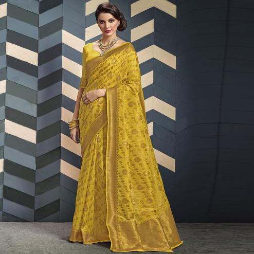Capricious Yellow Colored Festive Wear Woven Organza Silk Saree