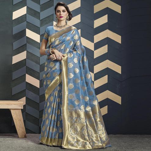 Preferable Stone Blue Colored Festive Wear Woven Organza Silk Saree