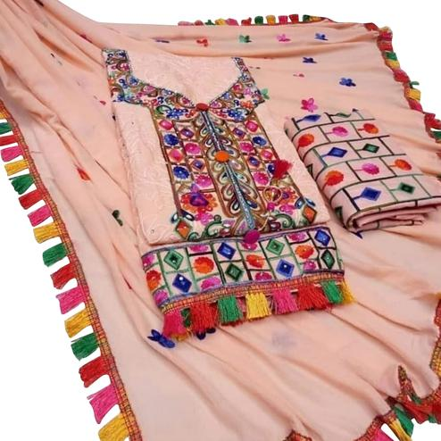 Hypnotic Blush Peach Colored Partywear Embroidered Cotton Dress Material