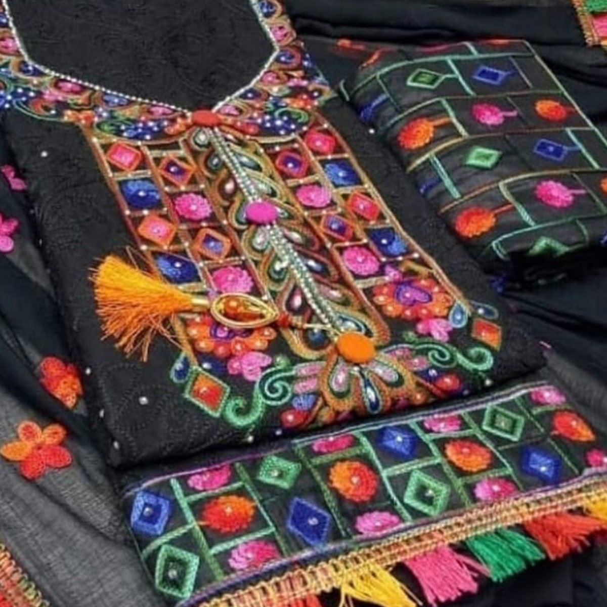 Arresting Black Colored Partywear Embroidered Cotton Dress Material
