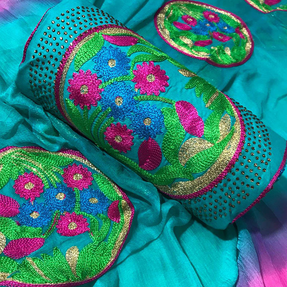 Blooming Rama Green Colored Partywear Embroidered Cotton Dress Material