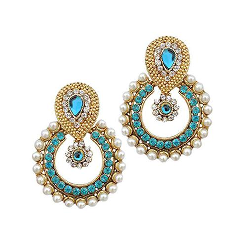 Sea Blue Stone Pearl Polki Earring