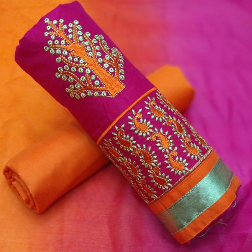 Pretty Pink-Orange Colored Partywear Embroidered Cotton Dress Material