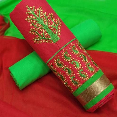 Trendy Red-Green Colored Partywear Embroidered Cotton Dress Material