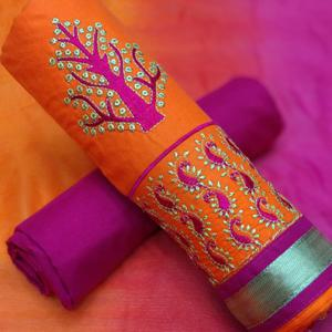 Favorite Orange-Pink Colored Partywear Embroidered Cotton Dress Material