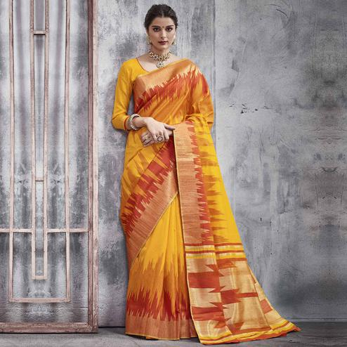 Majesty Yellow Colored Festive Wear Woven Silk Saree