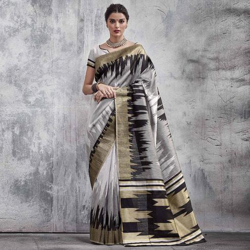 Delightful Grey Colored Festive Wear Woven Silk Saree