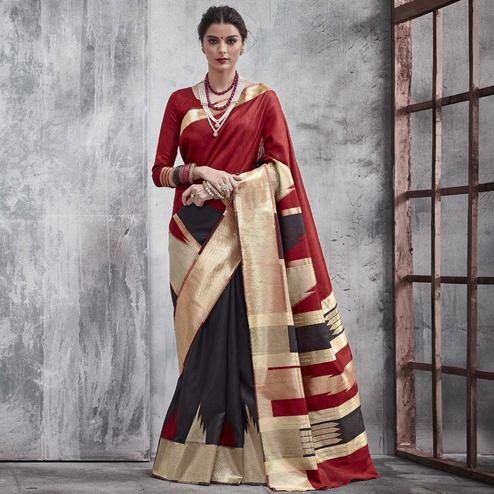 Marvellous Maroon-Black Colored Festive Wear Woven Silk Saree