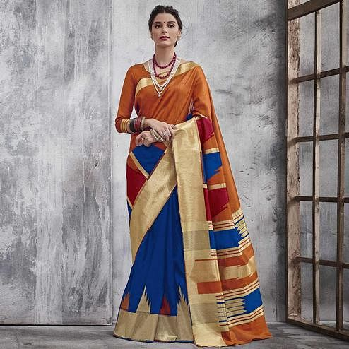 Precious Orange-Blue Colored Festive Wear Woven Silk Saree