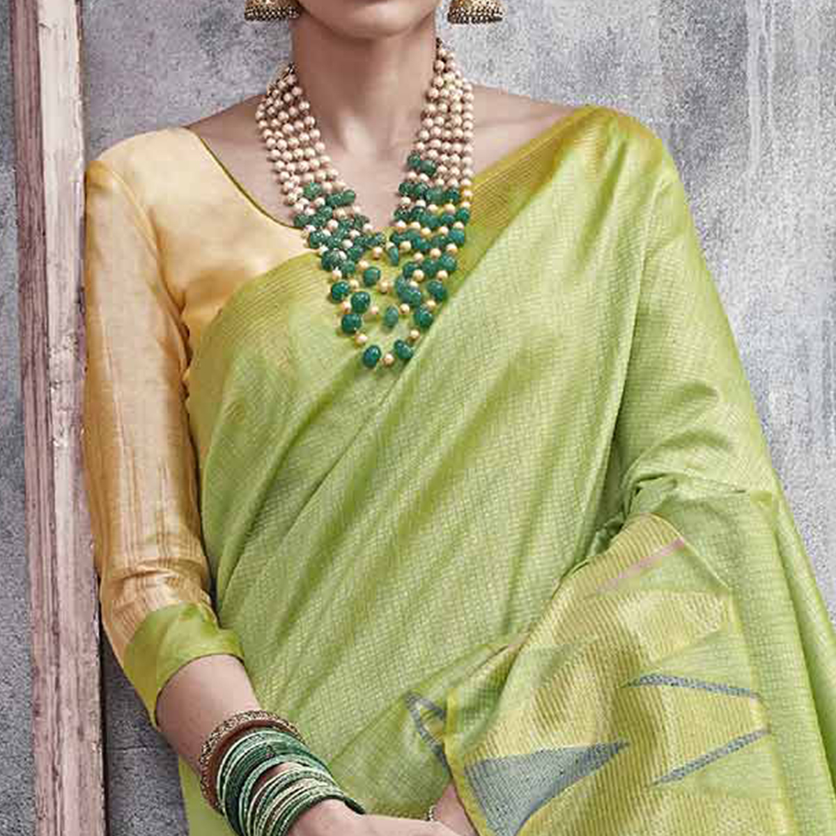 Glorious Pista Green Colored Festive Wear Woven Silk Saree