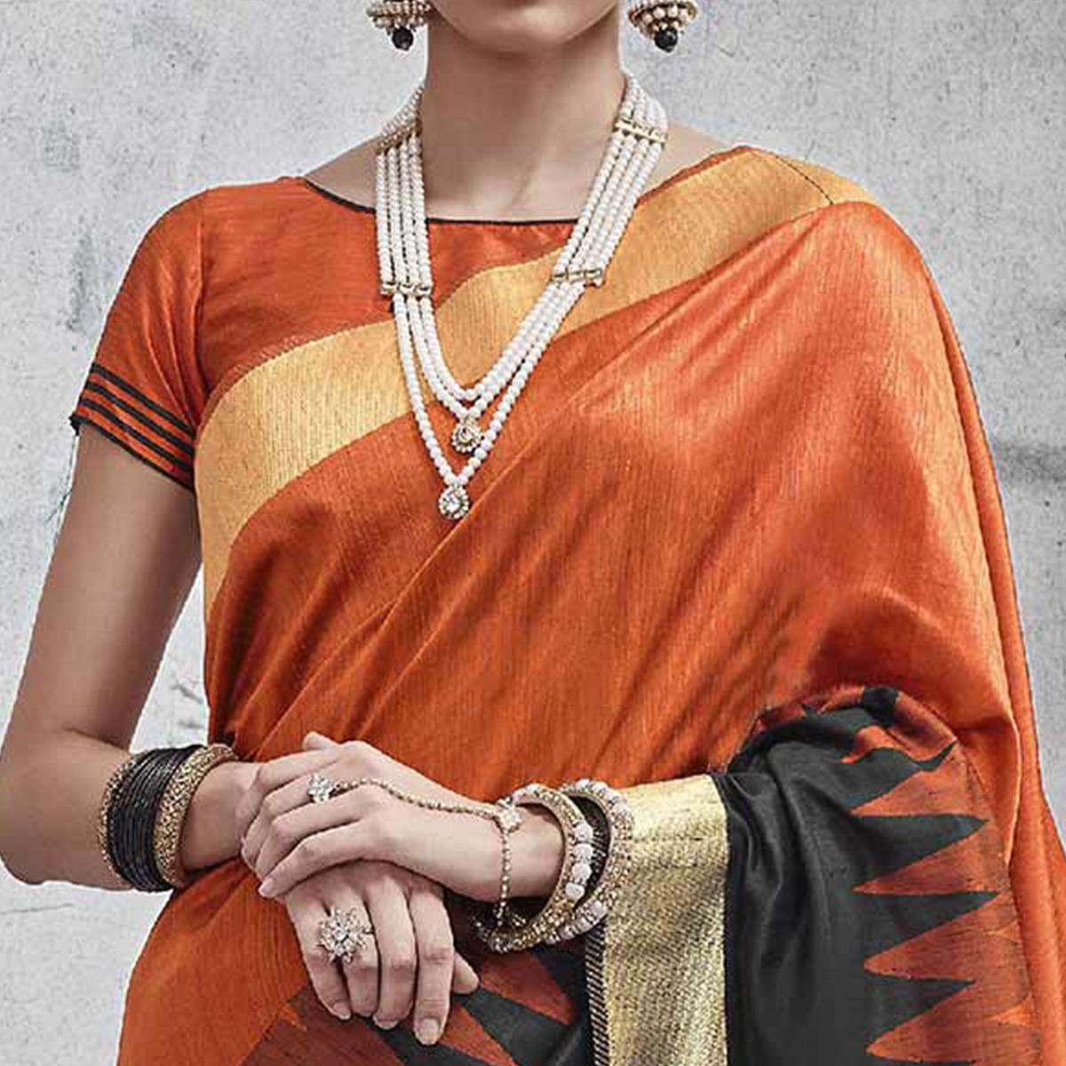 Deserving Orange-Black Colored Festive Wear Woven Silk Saree