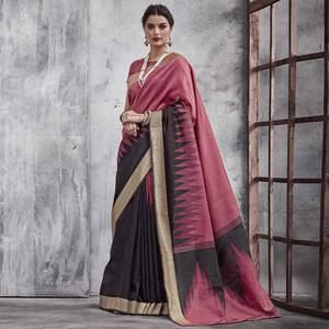 Ethnic Wine-Black Colored Festive Wear Woven Silk Saree