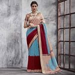 Excellent Beige-Maroon Colored Festive Wear Woven Silk Saree