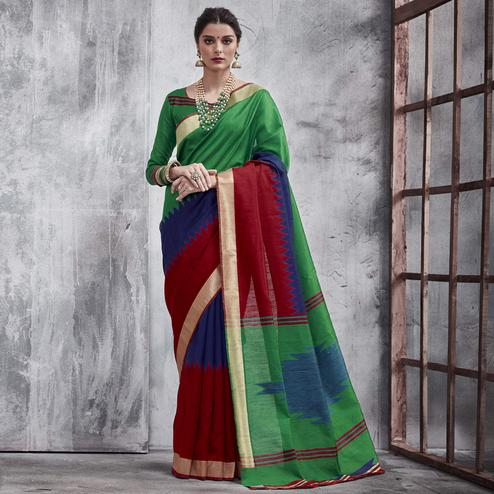 Radiant Green-Maroon Colored Festive Wear Woven Silk Saree